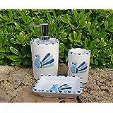 Set bagno 3 pezzi pavoncella turchese lucido