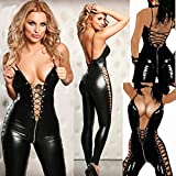 Sexy Lace See-Through Scava Fuori Tuta in Pelle Fuax Erotico Lace-up Teddy Lingerie Donne Nightclub Tute in Lattice Catsuit