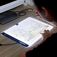 amiciVision LED Lighted Drawing Board A4 Size with Brightness Controlled Touch Button (1, A4)