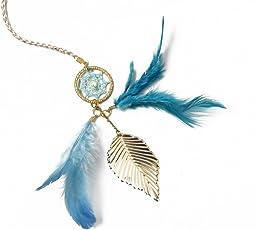 Rooh Dream Catcher Feather Brass Bookmark (2.5 cm x 0.5 cm x 29 cm, Light Blue)