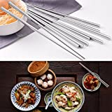 #8: Skywalk 5 Pairs Stainless Steel Round Chopsticks Chinese Stylish Healthy Chopstick
