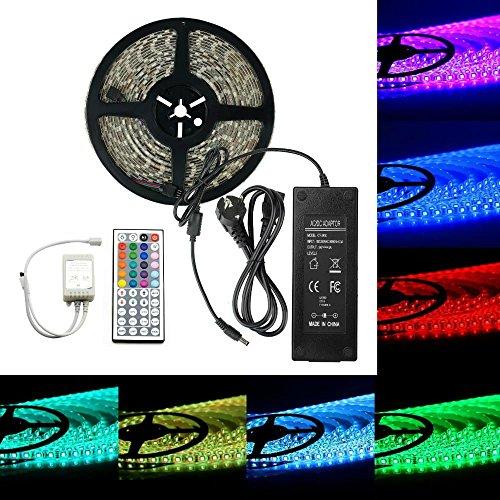 LED Streifen Licht 10m SUPERNIGHT RGB Lighting Kit 5050 smd 32.8ft 10M 600LEDs Wasserdicht 24v RGB LED Strip, 44 Key IR Fernbedienung + Power Supply Netzteil Adapter für Hauptweihnachtsdekoration (Supernight-splitter-5050)