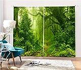 KKLL gardinen Blackout 3D grüne Dschungel Vorhänge, Home Decor Geräuschreduzierende Solarthermische Fenster Vorhänge Panel Vorhang, WIDE150XHIGH166WIDE75X2