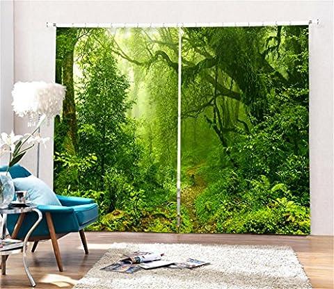 GFYWZ Polyester-Persönlichkeit Blackout 3D-Grün-Dschungel Digital-Druck Vorhänge Home Decor Lärm Reduzieren Solide Thermal-Fenster Drapes Panel Vorhang Geeignet für Schlafzimmer Wohnzimmer , wide 3.6x high 2.7
