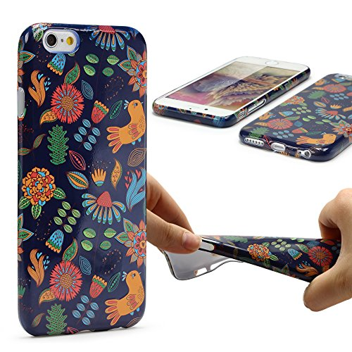 Urcover® Apple iPhone 6 / 6s Hülle mit Blumenmuster Design 4 Handy Schutz-Hülle Floral TPU Cover Schale Flexibel Silikon-hülle Back-Case Handy Smartphone Zubehör Design 1
