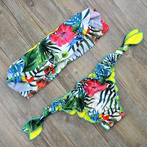 femminile Halter Push up perizoma Bandeau costume da bagno Biquini arruffato string Swim Wear Beach