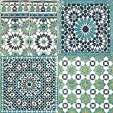 Grandeco Botanisch Marokkanische Kachel Muster Tapete Retro Blumenmuster Texturiert Motiv - Türkis BA2503