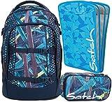 satch pack Splashy Lazer 3er Set Rucksack, Schlamperbox & Heftebox Blau