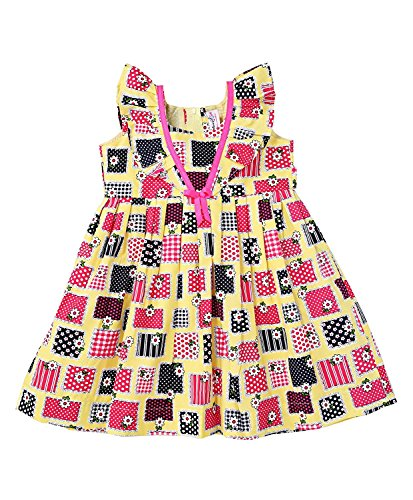 Mom's Girl Frock yellow and pink appilque printed casual cotton girls frock (6-12 Months)