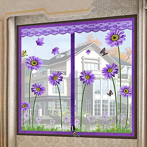 Bildschirm Mesh Fenstervorhang, Reißverschluss Netting Flyscreen Schiere Fenstervorhang Moskitonetz Zum Aufhängen Ausgestattet, Um Mehrere Fenster-a 80x100cm(31x39inch) -