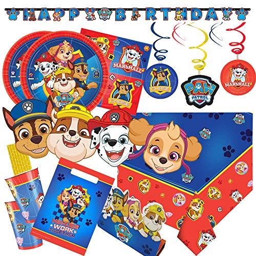 Amscan/Hobbyfun 72-teiliges Party-Set Paw Patrol - Teller Becher Servietten Trinkhalme Einladungen Tüten Girlande Deko-Spiralen Masken für 8 Kinder (Paw Patrol Happy Birthday Banner)