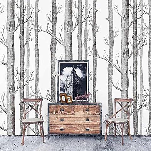 Tapete by COUTUDI, Natur Birke Baum - Wald Holz Vliestapete Wandbilder, PVC frei Fine Decor, 0.53m B*10m