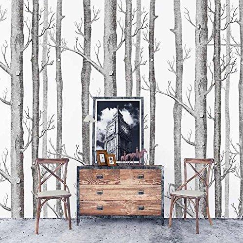 3D Papel Pintado Abedul Bosque de Árbol, COUTUDI Precioso Vintage No Tejido Papel de Pared Decor Para Dormitorios/ Salón/ Hotel/ Fondo de TV, 0.53x10m