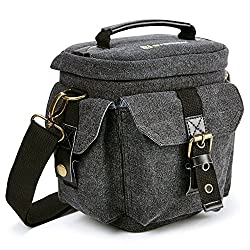 Evecase Universal Size S – Small Shoulder Bag In Canvas, Water-resistant, Holster Camera Case For Digital Camera Dslr Canon, Nikon, Sony, Olympus, Samsung, Pentax, Panasonic, Fujifilm, Small – Black