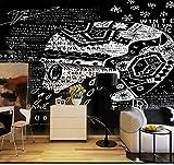 HONGYAUNZHANG Schwarz-Weiß-Abstrakte Cafe Benutzerdefinierte Fototapete 3D Stereoskopische Wandbild Wohnzimmer Schlafzimmer Sofa Hintergrund Wandbilder,110Cm (H) X 190Cm (W)