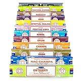 Satya Nag Champa Om Shanti Incienso Set B 12 x 15 g incluye: Nag Champa, Super Hit, Om Shanti, Odh, Vibes positivos, Namaste, Champa, Opium, Reiki, Spiritual Healing, Karma, Ayurveda tradicional