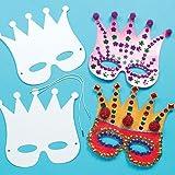 Masken zum Basteln und Ausmalen - Krone - Königin - Prinzessin - für Kinder ideal zum Kindergeburtstag und Karneval - 12 Stück