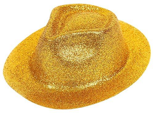 Chapeau en PVC plastique avec paillettes forme tribly ou melon, taille unique pour adulte idéal pour soirées déguisées anniversaire fête carnaval spéctacle surprise original, choisir:P-02 Trilby Glitzer gold
