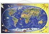 Kinderweltkarte laminiert mit Metallbeleistung