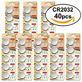 CR2032 3V Batterien CR 2032 Knopfzelle (Lithium Knopfzellen - 3 Volt) (CR2032-40 Stück)