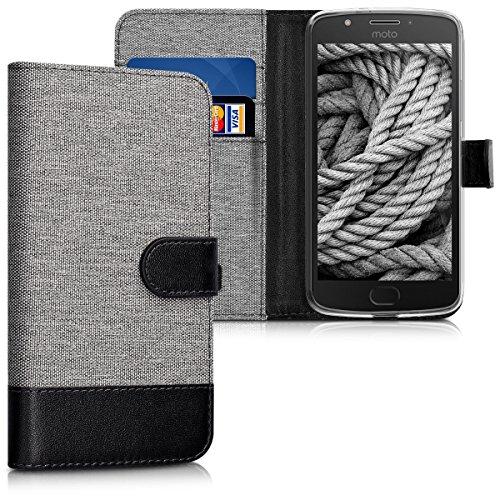 kwmobile Hülle für Motorola Moto E4 - Wallet Case Handy Schutzhülle Kunstleder - Handycover Klapphülle mit Kartenfach und Ständer Grau Schwarz