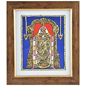 Mangala Art Balaji Tanjore Artwork with Acrylic Base, Size:7.5x6.5inches, Color:Multi