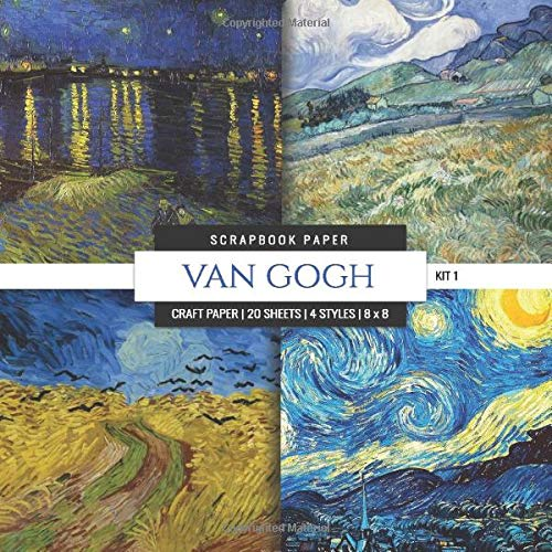 Van Gogh Scrapbook Paper Kit 1: 8x8 Decorative Craft Paper, Designer Specialty Paper for Scrapbooking, Landscape, Starry Night, Vintage Themed Background Papers (Multi-Purpose Paper, Band 8) -
