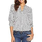 TIFIY Camicetta a 3/4 Maniche Donna Plus Size t-Shirt Donna Camicie Stampate a Pois per Donna Top Casual t-Shirt Scollo a v d