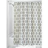 InterDesign Levi Textil Duschvorhang | 183 cm x 183 cm Duschabtrennung für Badewanne und Dusche | Vorhang aus Stoff mit Rautenmuster | Polyester grau