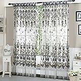 Peony Curtain Living Room Bedroom Home Door Window Curtain (Grey)