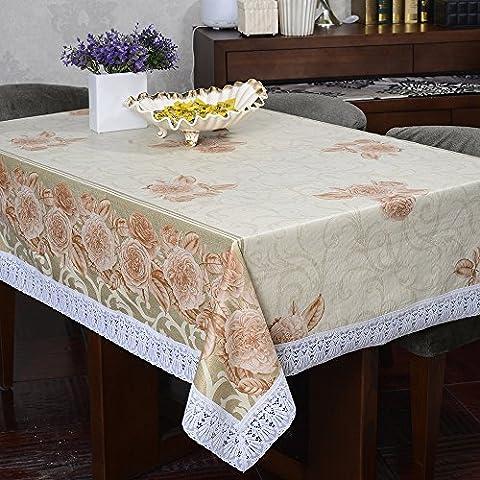Poliéster Flor vertidos Impreso Mantel Rectangular para mesa mantel de comedor borla.