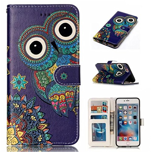 iPhone 6S Plus Hülle, iPhone 6 Plus Hülle, Gift_Source [ Panda ] Magnetisch Dünn Leder Folio Flip Klapphülle Etui Schutzhülle Tasche Case mit Magnetverschluss und Kartenfächer Handy Tasche Hülle Cover E1-Eule