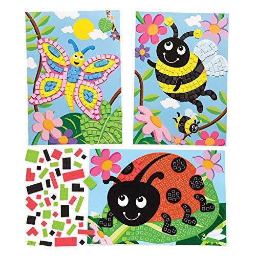 "Baker Ross Mosaik-Bastelsets ""Insekten"" (4 Stück) – Frühlings-Bastelidee für Kinder, Schulklassen und Kindergruppen"