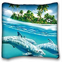 Decorativo Quadrato Throw Pillow Case animali Dolphin Palme S Wind Waves Sea Trees 18 x 18 in due lati