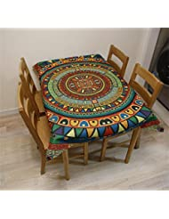 LILSN- Europeo - estilo del paño de tabla chino Jardín Flores Ronda de mesa manteles de algodón de lino de té Mantel Mantel Impresión Manteles ( Tamaño : 140*230 Cm )