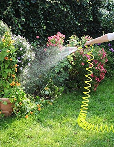 1PLUS Premium Spiral-Gartenschlauch 10 m & regulierbarer Wassersprühkopf & umfangreiches Zubehör-Set,in verschiedenen Farben (Grün / Gelb)