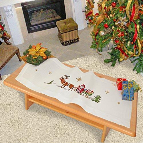 """Wundervolle Stickpackung """" FRÖHLICHE WEIHNACHTEN """" mit zauberhaften Rentieren und dem Weihnachtsmann auf einem Schlitten - Stickdecke 40 cm x 100 cm - Kreuzstich vorgezeichnet - Stickgarn aus 100 % Baumwolle - qualitativ hochwertig - zum Sofort-Loslegen - Tischläufer 40x100 cm - zum Selbersticken - aus dem KAMACA-SHOP - Advent Weihnachten Herbst"""