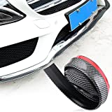 Car Black Front Bumper Rubber Protector Lip TPVC Carbon Fiber Splitter Body Spoiler 98inches Universal