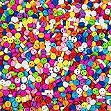 Kleine, kunterbunt gemischte Miniaturknöpfe zum Annähen - Durchmesser ca. 6 mm rund - Mini-Kunststoffknöpfe für Puppenverzierungen und zum Basteln (100 Stück)
