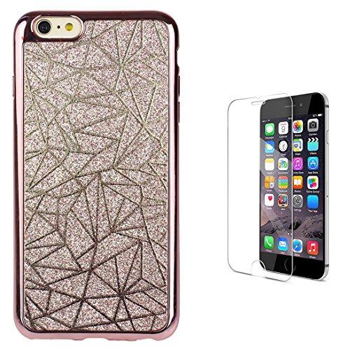 Pheant® [2in 1] Apple iPhone 7 (4.7 Zoll) Hülle Glitzer mit Panzerglas (9H Härtegrad,Ultra-klar),Silikon Schutzhülle (Das glitzer Rückseite + Galvanotechnik Stoßrahmen)