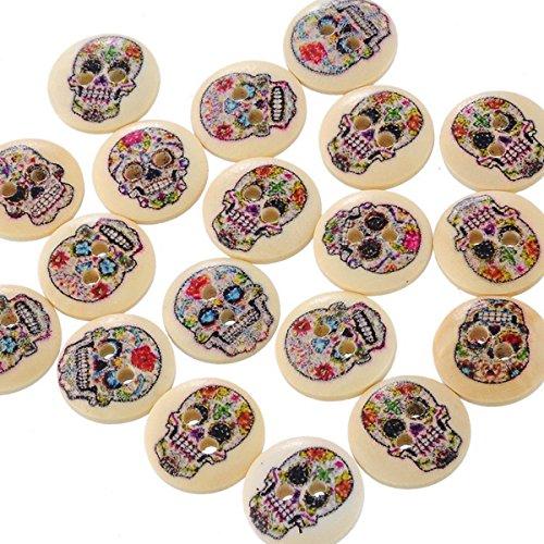 tfxwerws aprox. 100piezas de botón de madera redonda DIY...