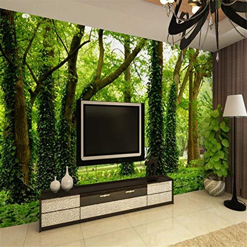 Pbldb Benutzerdefinierte Foto Wandbild Tapete 3D Grüne Bäume Wald Schlafzimmer Wohnzimmer Sofa Tv Hintergrund Dekor Vlies Tapetenrolle Größe-150X120Cm