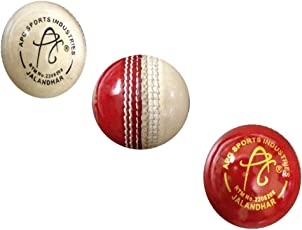 APG Practice Red & White Leather Cricket Ball (Pack Of 1)