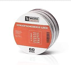 60x Premium Klett Schleifscheiben - Werk-Partner Schleifpapier Ø 125 mm 60 Stück Körnung je 10 x 40/60/80/120/180/240 Exzenter-Schleifer 8 Loch