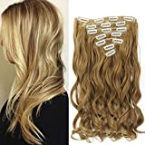 """Neverland Beauty 22"""" Full Head Clip Extensión del pelo Hair Extensions , Wavy-7 Piece with 16 clips, Honey Blonde"""