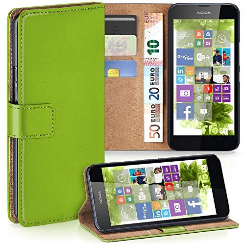 moex Nokia Lumia 630 | Hülle Grün mit Karten-Fach 360° Book Klapp-Hülle Handytasche Kunst-Leder Handyhülle für Nokia Lumia 630/635 Dual SIM Case Flip Cover Schutzhülle Tasche