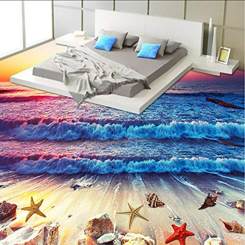 Afterglow Natürlichen (Dalxsh Benutzerdefinierte 3D Fototapeten Sonnenuntergang Afterglow Sea Waves Badezimmer Küche Boden Wandbild      Home Decor Tapetenbahn-250X175Cm)