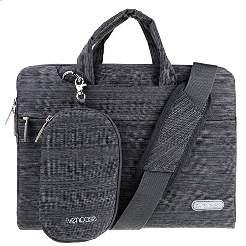 ivencase - Denim-Gewebe Hülle Aktentasche Tasche Schultertasche für 12,9 Zoll iPad Pro / 13-13,3 Zoll Laptop / Notebook Computer / MacBook Pro / MacBook Air, Dunkelgrau