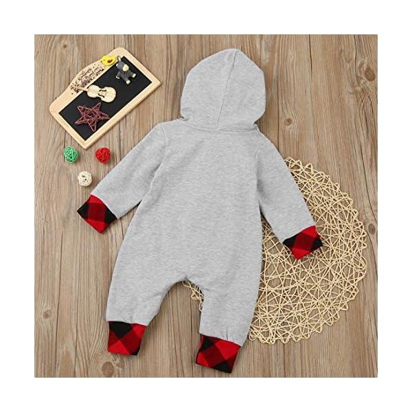 Tefamore ❤️Ropa para niños bebés Conjunto, Plaid con Capucha Mameluco Jumpsuit Trajes Ropa, 3-18M 2