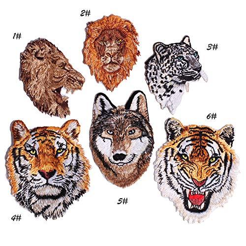 tickerei Abzeichen zum Aufbügeln Sticker DIY Tiger Wolf Löwe Kunst Basteln Nähen Stricken für Kostüme Jeans, Tasche T-Shirt, Jacke, 6 Stück ()